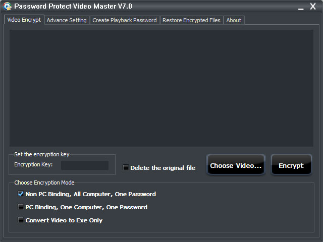 Click to view Password Protect Video Master 7.2 screenshot